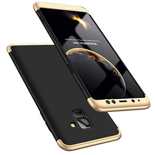 Coque Samsung Galaxy A8 2018 Golden Noir 360 degrés Très Mince Tout Inclus Protection 3 dans 1 boîtier PC téléphone Case Cover-Golden Noir