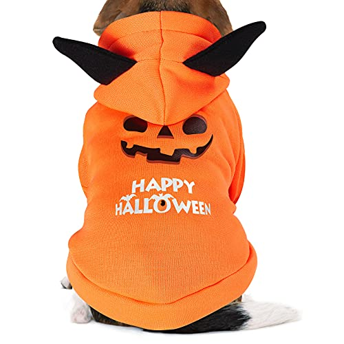 GeeRic Halloween Dog Costumes, Pumpkin Costume Cat Holiday Outfit Pet Halloween Day Clothes 4 Feet...
