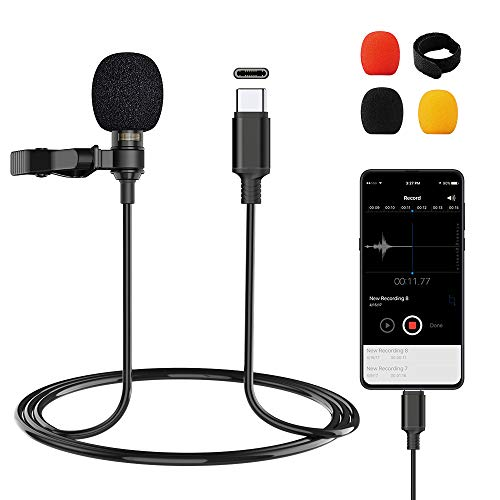 Professional Type-C Lavalier Lapel Microphone for Android, Omnidirectional Condenser USB-C Lapel Clip-on Lapel Microphone Perfect for YouTube, Interview, Conference or Audio Video Recording (6.6ft