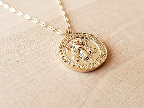 Medaille Biene Anhänger Halskette - Frauenschmuck Weihnachtsgeschenk