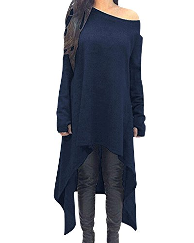 ZANZEA Damen Unregelmäßige Strick Oversize Langarm Pullikleid Longshirt Top Minikleid Dunkelblau EU 44/Etikettgröße XL
