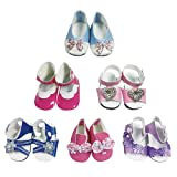CZC Geschenk 6 Paar Puppe Schuhe Puppen Zubehör Passt 18 Inch American Girl Dolls Schuhe (Stil 6)