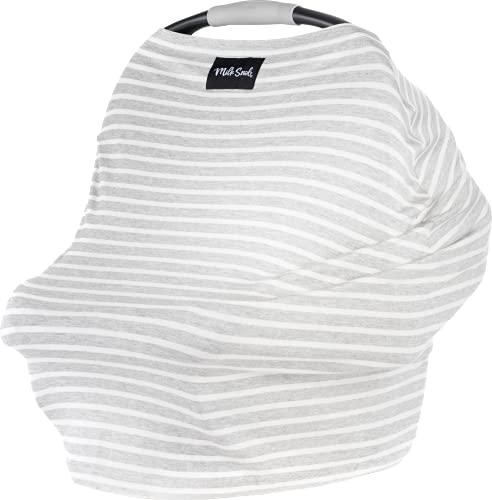 Milk Snob Original 5-in-1 Cover - Added Privacy for Breastfeeding, Baby Car Seat, Carrier, Stroller, High Chair, Shopping Cart, Lounger Canopy - Newborn Essentials, Nursing Top (Heather Grey Stripe)