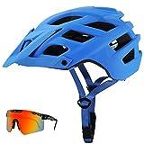 GYAM Casco de Bicicleta para Adultos Casco de Bicicleta de Carretera de montaña para Hombres y Mujeres con Visera Desmontable y Gafas de Ciclismo polarizadas, 22 Salidas de Aire,Azul