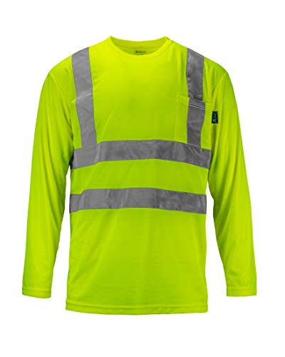 Kolossus 100% Polyester ANSI Class 2 Compliant High Visibility Long Sleeve Safety Shirt (XX-Large)