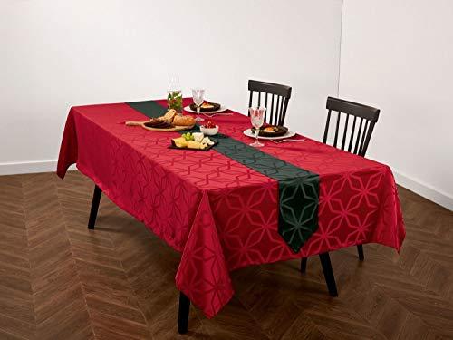 Meradiso Jacquard Tischdecke + Tischband für EIN edel gedeckte Tafel (2-teilig) Rot Eckig
