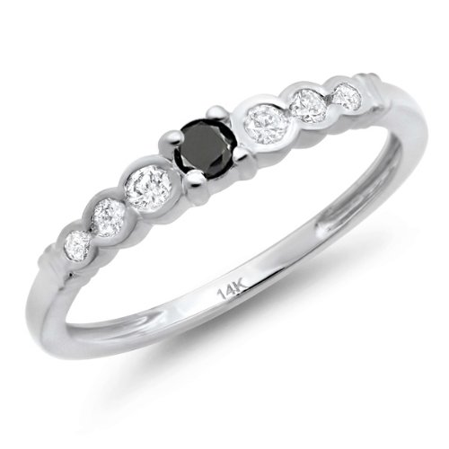 DazzlingRock Collection Anillo apilable de 0,25 Quilates (CTW) de Oro Negro y Diamantes de 14 kilates apilables 1/4 CT 9
