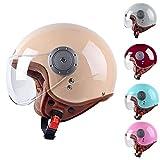 GUOF Casco de Protección Half Helmets - Half Open Face Casco de moto Vintage Jet-Helmet Half Helmet Pilot Motor Bike Scooter Biker Retro Cruiser, Certificación D.O.T duradera, resistente al sudor y