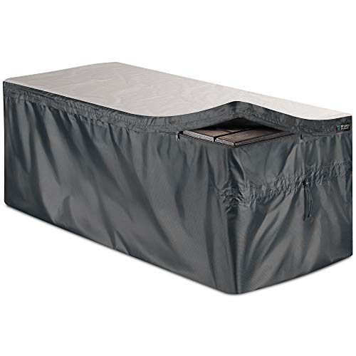 "Bag Mate Deck Box Cover - L: 62"" W:30"" H:28""- Waterproof Quick Open Cover Top with Zipper - Best Fit for Keter Deck Boxes: Westwood, Rockwood, Brightwood, Sumatra and Lifetime 130gal - PVC-Coated"