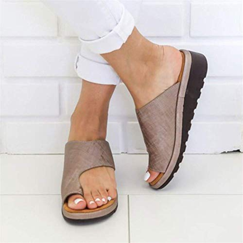 QLIGHA Summer Ladies Open Toe Slippers Correzione Borsite Sandali Alluce Valgo Ortopedico Borsite Correttore Sandali Comode Infradito Piatte Scarpe da Spiaggia, D, 37