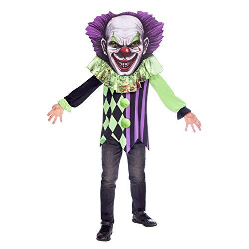 Amscan 9907119 - Kinderkostüm Horror Clown, Langarmshirt, Kapuze mit integriertem Kragen und Maske, Gruseliger Clown, Mottoparty, Karneval, Halloween