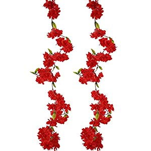 BEFINR Artificial Cherry Blossom Vine Red Petal Flower Forever Plants Garland for Art Home Decoration Wedding Party Garden Office 2 Pack