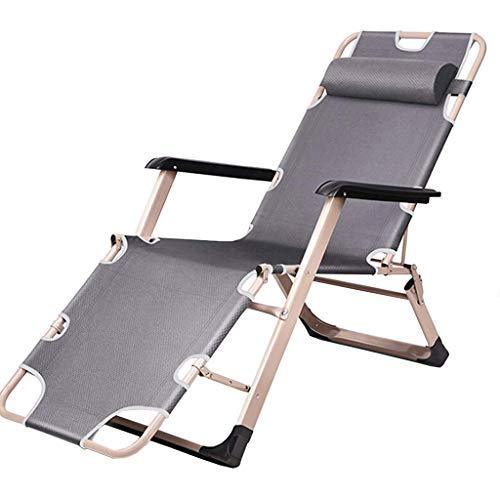 AYHa Taburete al aire libre de descanso de cero gravedad ajustable Silla plegable de Sun sillas reclinables Oxford material de tela y acolchados Reposacabezas,gris