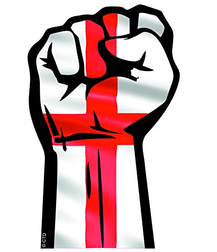 Solidariteit Fist Protest Hand Maart Motief Met Engeland Engels St Georges Cross Vlag Vinyl Auto Sticker Decal 132x82mm