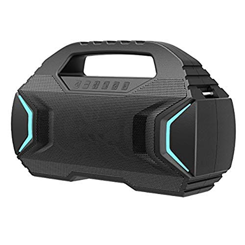 WUBAILI Bluetooth Speaker with Hi-Res 50W Audio, 3D Stereo Bassup, Extended Bass And Treble, IPX7 Waterproof, And Type-C,Bluetooth 5.0,7 Colored Lights,30 Hours Playback,Black