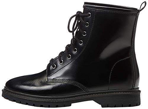 find. Lace Up Leather Botas Estilo Motero, Negro Black, 39 EU