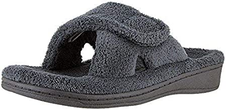 Vionic Women's Indulge Relax Slipper - Ladies Comfortable Cozy Adjustable House Slippers with Concealed Orthotic Arch Support Grey 9 Medium US