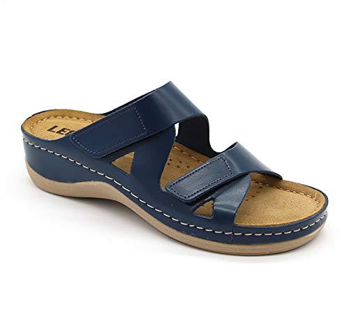 LEON 906 Sandalias Zuecos Zapatos Zapatillas de Cuero para Mujer