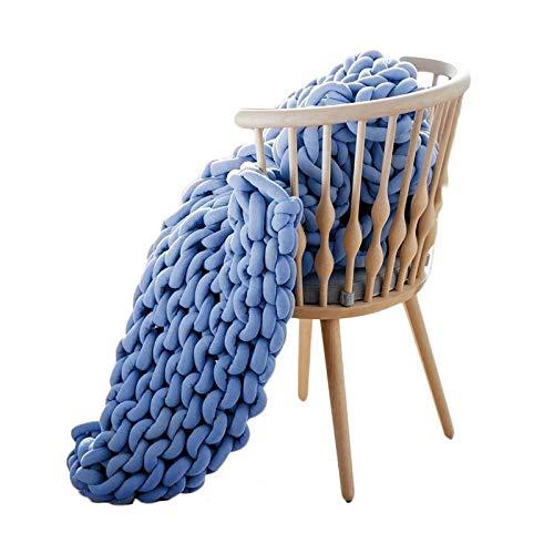 AMYZ Manta Tejida con Cable de algodón,Manta Tejida a Mano de Hilo de Lana Merino para sofá,Silla,Alfombra cálida para decoración del hogar,Alfombra para Mascotas,Azul Vaquero,100 * 120 cm
