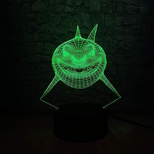 Requin Féroce Forme De Poisson 3D Usb Led Lampe Underwater Ocean World Animal 7 Couleurs Table De Bureau Changeante Éclairage De Nuit Enfants Jouets Cadeau