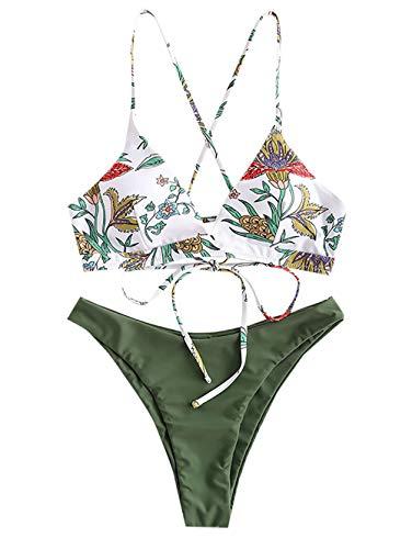 ZAFUL Damen Floral Top High Cut Bikini Set Swimwear Hellgrün L