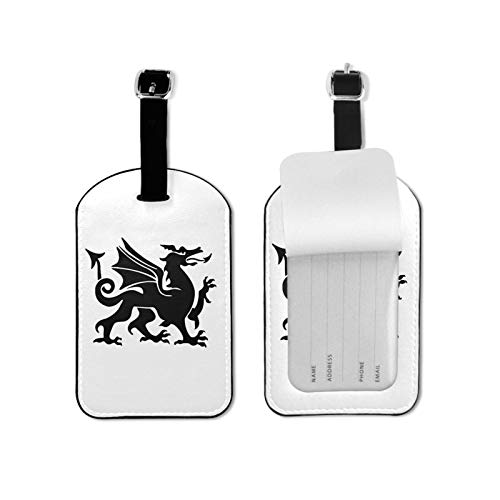 Wales Welsh Dragon Cute Luggage Tag Baggage Labels Leather for Kids Women Travel