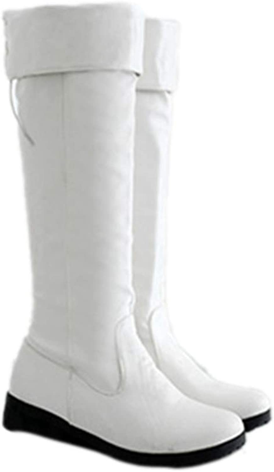 Over The Knee Boots Punk Back Strap Square Heels Knee-Length Boots