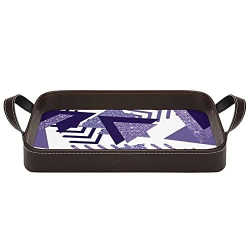 Cool Purple Passion s - Bandejas geométricas para servir con asas, 34,5 x 22,6 cm, bandeja decorativa para café, desayuno, postre