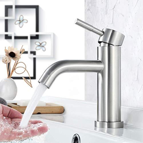 Faulkatze Waschtischarmatur Edelstahl Wasserhahn Bad Waschbecken Armatur Einhand-Waschtischbatterie Waschbeckenarmatur für Badzimmer, Gebürstet Matt