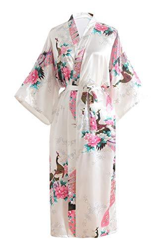 OLESILK Damen Lang Morgenmantel Satin Kimono Kurzarm Robe Bademantel mit Gürtel V-Ausschnitt Nachtwäsche Negligee mit Pfau und Blumen Muster, Weiß
