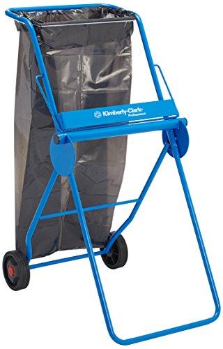 Kimberly-Clark Professional 6155 Mobiler Rollenwischtuchspender für Großrollen in fahrbarer Halterung, Inkl. Abfallsammler, Freistehend, Blau