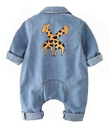 Everything But FELIX Jeans Baby Romper Bodysuit, Boy Girl Clothes Outfits, Giraffe Design Denim Blue