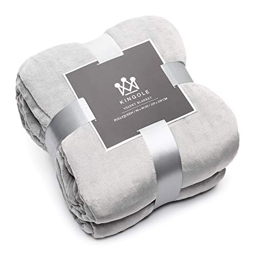 Kingole Flannel Fleece Microfiber Throw Blanket, Luxury Grey King Size Lightweight Cozy Couch Bed Super Soft and Warm Plush Solid Color 350GSM (108 x 90 inches)