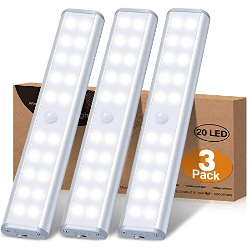 Under Cabinet Lighting Battery Operated Motion Sensor Closet Lights, Wireless Under Counter Lights with 20 LEDs for Kitchen/Cupboard/Stair/Drawer/Refrigerator (3 Packs)