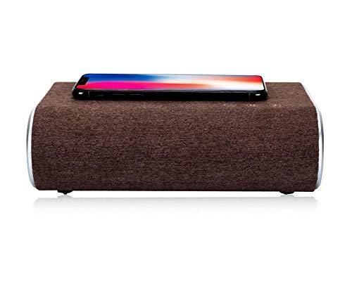 Wireless Charging Speaker, Multi-Function Wireless Qi Charging Station for iPhone X Xr Smart Bluetooth Speaker (Dark Brown)