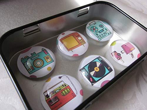 Magnete Kühlschrankmagnete Retro TV Uhr Fotoapparat Plattenspieler