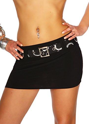 jowiha® Minirock sexy kurz Elasthan mit Gürtel zum abnehmen in 3 Größen 36 38 40 (S 36, Schwarz)