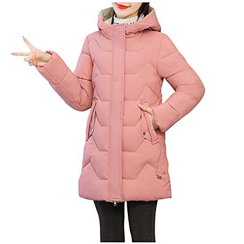 Fomino Damen Steppmantel Lange Stepp-Jacke mit Kapuze Full Zip Baumwolljacke Warmer Mantel Verdickter Kapuzenmantel Steppjacke Winterjacke Mit Tasche (Rosa, 3XL)
