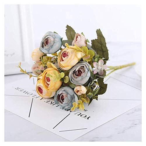 LHHZAL White Rose Artificial Flowers Silk Bouquet Big Rose for Wedding Decoration Fake Flowers Red for Home Table Decor Artificial Flower (Color : Purple, Size : 1 pc) (Size : Rose Yellow)