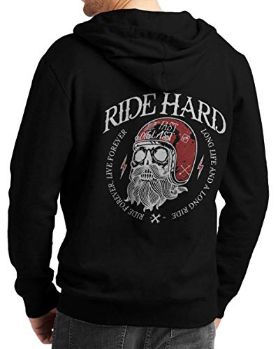 Rebel on Wheels Herren Zip Hoodie Sweat-Jacke mit Kapuze Kapuzen-Jacke Winter mit Motiv Bedruckt Totenkopf Skull Biker Motorrad Ride Hard Long Live Schwarz 2XL