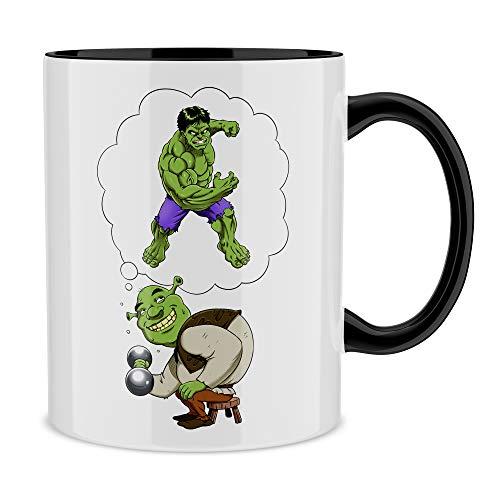 OKIWOKI Taza con asa Negra e Interior Negro Parodia de Hulk - Shrek- Shrek y Hulk (Taza de Primera Calidad - Impresa en Francia - Réf : 1087)