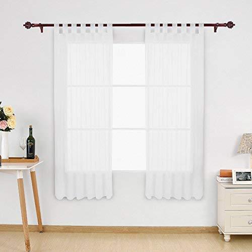 Deconovo Voile Vorhänge Schlaufenschal Gardinen Transparent Wohnzimmer 175x140 cm Weiß 2er Set, Stoff, 175x140