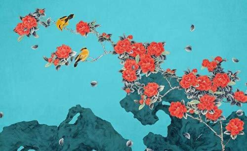 Tapete Kamelie handgemalte Blumen und Vögel neue chinesische Tapete Wandbild Schlafzimmer Wohnzimmer Studie Sofa Nachttisch Hintergrund Wandtuch-430cmx300cm(LxH)