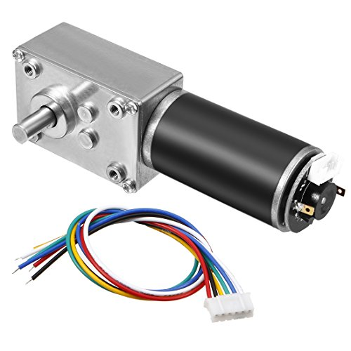 uxcell DC 12V 7RPM 30Kg.cm Self-Locking Worm Gear Motor with Encoder and Cable, High Torque Speed Reduction Motor
