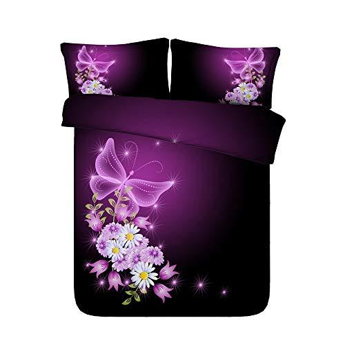 Sticker superb Bambin Bébé Doux Coton Parures de Lit avec Taie d'oreiller, Belle Vert/Violet Papillon Housse de Couette pour Toute l'année (Papillon 2, 200x200cm)
