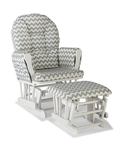 Premium Nursery Glider and Ottoman Chair Rocker Storkcraft Set in Grey and White