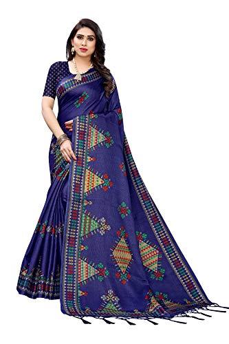 TreegoArt Fashion Sari Jhalar de trabajo con estampado de seda Kalamkari para mujer con blusa Peace -(KITE NAVY)