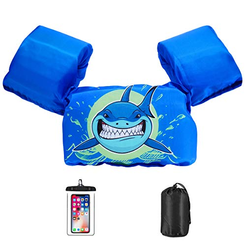 AmazeFan Kids Swim Life Jacket Vest for Swimming Pool, Swim Aid Floats with Waterproof Phone Pouch and Storage Bag,Suitable for 30-50 lbs Infant Baby Toddler,Children Sea Beach