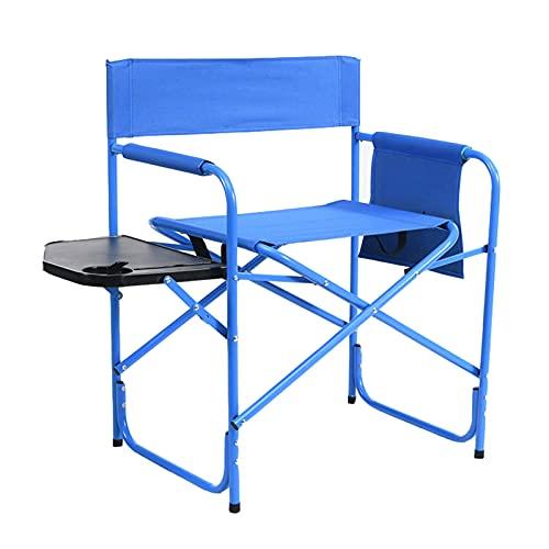 ZHAOJ Sedia da Regista da Campeggio Pieghevole in Metallo con Tavolino, Sgabello Robusto con Tavolino, Portatile per Prato All'aperto Sportivo,81.5×50×49cm
