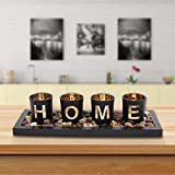Cute Candle Holders Set with Wooden Tray Rocks, Table Decorations for Living Room, Centerpieces for Coffee Table, Bathroom Décor, Dining Room Table Décor, Farmhouse Home Décor Gifts(Home)